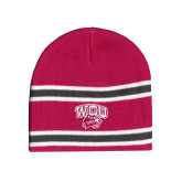 Pink/Charcoal/White Striped Knit Beanie-WCU w/Head