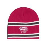 Pink/Charcoal/White Striped Knit Beanie-WCU w/Head