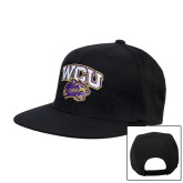 Black Flat Bill Snapback Hat-WCU w/Head