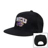 Black Flat Bill Snapback Hat-WCU w/Head