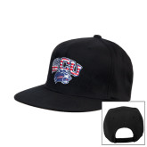 Black Flat Bill Snapback Hat-Stars and Stripes