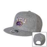 Heather Grey Wool Blend Flat Bill Snapback Hat-WCU w/Head