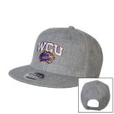 Heather Grey Wool Blend Flat Bill Snapback Hat-WCU w/Head