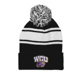Black/White Two Tone Knit Pom Beanie with Cuff-WCU w/Head