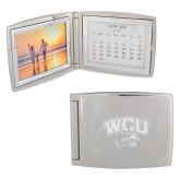 Silver Bifold Frame w/Calendar-WCU w/Head Engraved