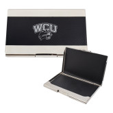 Bey Berk Carbon Fiber Business Card Holder-WCU w/Head Inverse Engraved