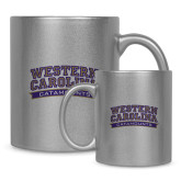 11oz Silver Metallic Ceramic Mug-Western Carolina Catamounts