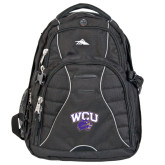 High Sierra Swerve Black Compu Backpack-WCU w/Head