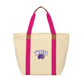 Natural/Tropical Pink Saratoga Tote-WCU w/Head