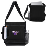 Impact Vertical Black Computer Messenger Bag-WCU w/Head