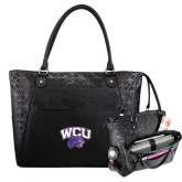 Sophia Checkpoint Friendly Black Compu Tote-WCU w/Head