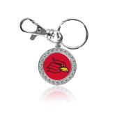 Crystal Studded Round Key Chain-Cardinal