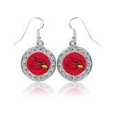 Crystal Studded Round Pendant Silver Dangle Earrings-Cardinal
