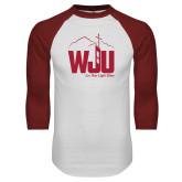White/Cardinal Raglan Baseball T Shirt-WJU