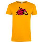 Ladies Gold T Shirt-Cardinal