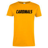 Ladies Gold T Shirt-Cardinals