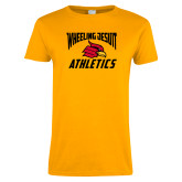 Ladies Gold T Shirt-Wheeling Jesuit Athletics