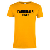 Ladies Gold T Shirt-Rugby