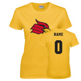 Ladies Gold T Shirt-Primary Mark, Custom Tee w/ Name and #