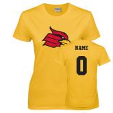 Ladies Gold T Shirt-Cardinal, Custom Tee w/ Name and #