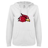 ENZA Ladies White V Notch Raw Edge Fleece Hoodie-Cardinal
