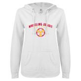 ENZA Ladies White V Notch Raw Edge Fleece Hoodie-Soccer