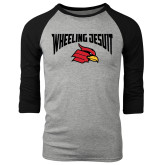 Grey/Black Tri Blend Baseball Raglan-Wheeling Jesuit