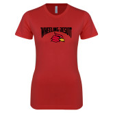Next Level Ladies SoftStyle Junior Fitted Red Tee-Wheeling Jesuit