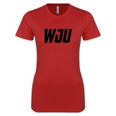 Next Level Ladies SoftStyle Junior Fitted Red Tee-WJU