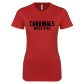 Next Level Ladies SoftStyle Junior Fitted Red Tee-Wrestling