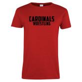Ladies Red T Shirt-Wrestling