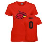 Ladies Red T Shirt-Cardinal, Custom Tee w/ Name and #
