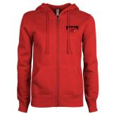 ENZA Ladies Red Fleece Full Zip Hoodie-Wheeling Jesuit