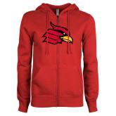 ENZA Ladies Red Fleece Full Zip Hoodie-Cardinal