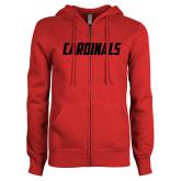 ENZA Ladies Red Fleece Full Zip Hoodie-Cardinals