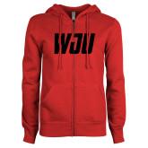 ENZA Ladies Red Fleece Full Zip Hoodie-WJU