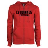 ENZA Ladies Red Fleece Full Zip Hoodie-Wrestling