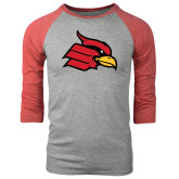 Grey/Red Heather Tri Blend Baseball Raglan-Cardinal
