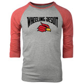 Grey/Red Heather Tri Blend Baseball Raglan-Wheeling Jesuit