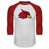 White/Red Raglan Baseball T Shirt-Cardinal