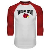 White/Red Raglan Baseball T Shirt-Wheeling Jesuit