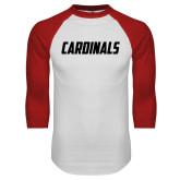 White/Red Raglan Baseball T Shirt-Cardinals