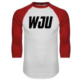 White/Red Raglan Baseball T Shirt-WJU