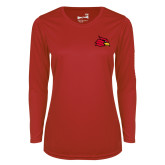 Ladies Syntrel Performance Red Longsleeve Shirt-Primary Mark