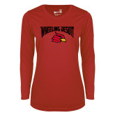Ladies Syntrel Performance Red Longsleeve Shirt-Wheeling Jesuit