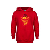 Youth Red Fleece Hoodie-Basketball