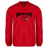 V Neck Red Raglan Windshirt-Wheeling Jesuit