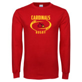 Red Long Sleeve T Shirt-Rugby