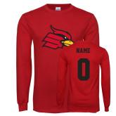 Red Long Sleeve T Shirt-Cardinal, Custom Tee w/ Name and #