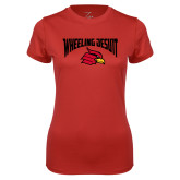 Ladies Syntrel Performance Red Tee-Wheeling Jesuit